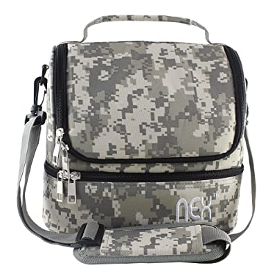 Nex Lunch Bag Double Cooler Carry Bag Insulated Tote Large Capacity with Adjustable Shoulder Strap and Zip Closure Travel Lunch Tote(Camo): Kitchen & Dining