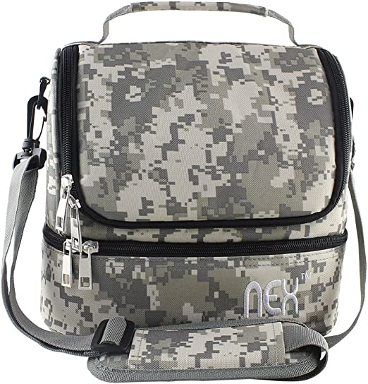 Large Lunch Bag Insulated Cooler Brown Black Camo Dual Compartment Tote Bag