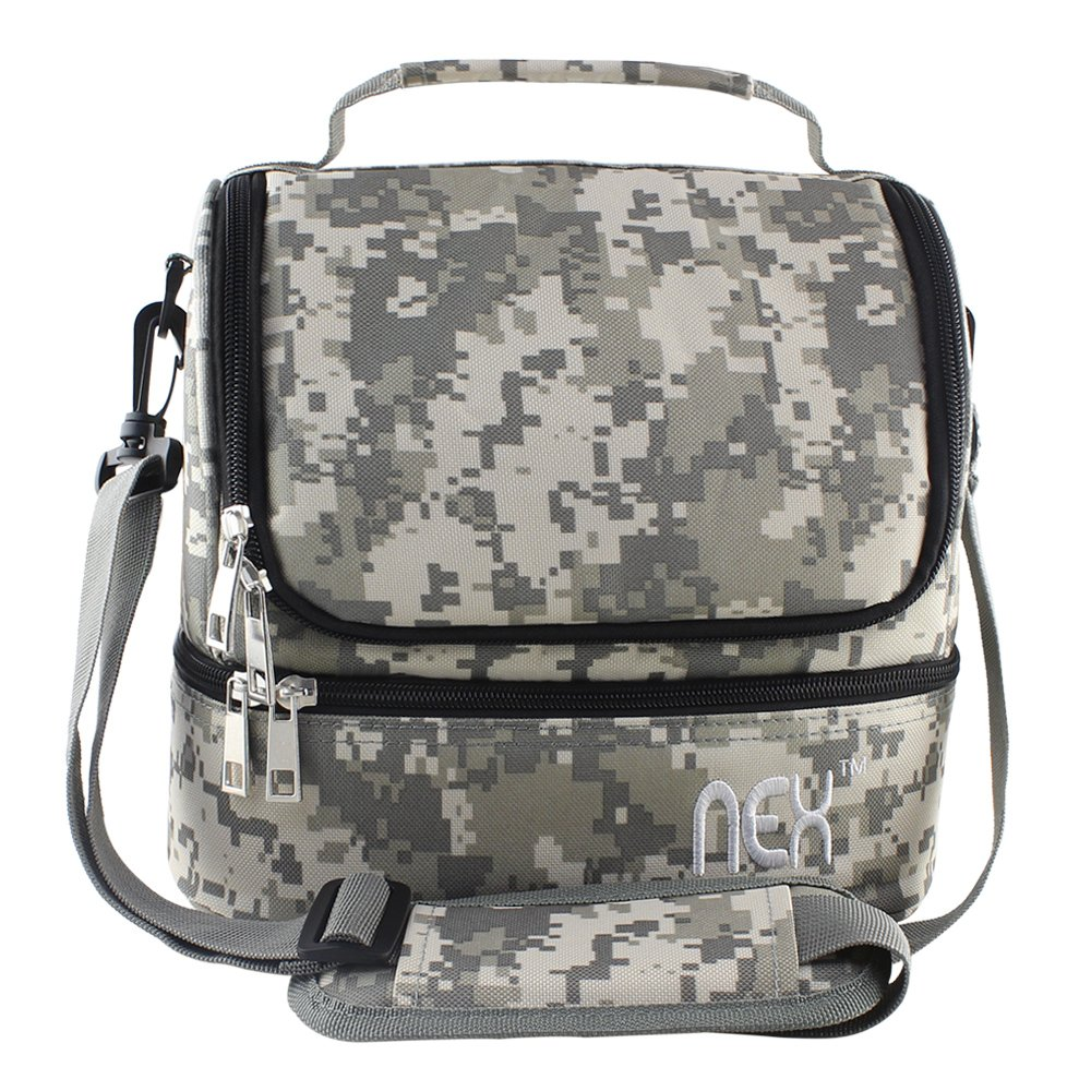 9f9a62bd42a8a4 Amazon.com: Nex Lunch Bag Double Cooler Carry Bag Insulated Tote Large  Capacity with Adjustable Shoulder Strap and Zip Closure Travel Lunch  Tote(Camo): ...