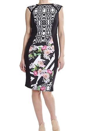e15fcb82539 Joseph Ribkoff Cap Sleeve Floral Geometric Print Dress Style 181708 Size 4