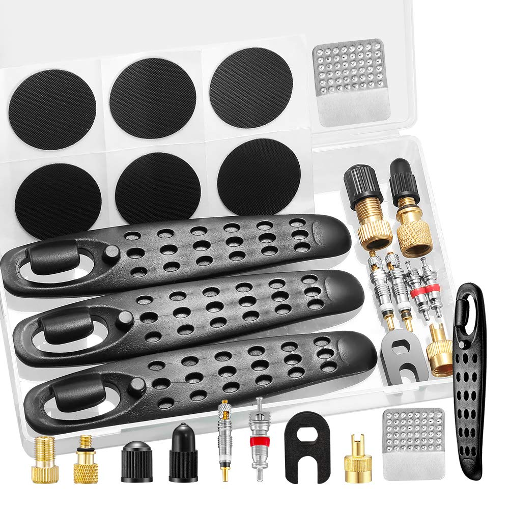 Osgow 15PCS Bike Tire Patch Repair Kit, Include Bicycle Bike Tire Levers, Tire Spoons, Pre-glued Patch Puncture Repair Kit, Valve Adapter, Valve Core Tool, Suitable for Mountain and Road Bikes