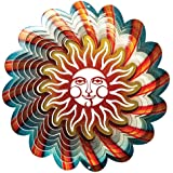 Sun Multi Colored Wind Spinner, Metal Yard Art and Outdoor Decor, 12 Inch