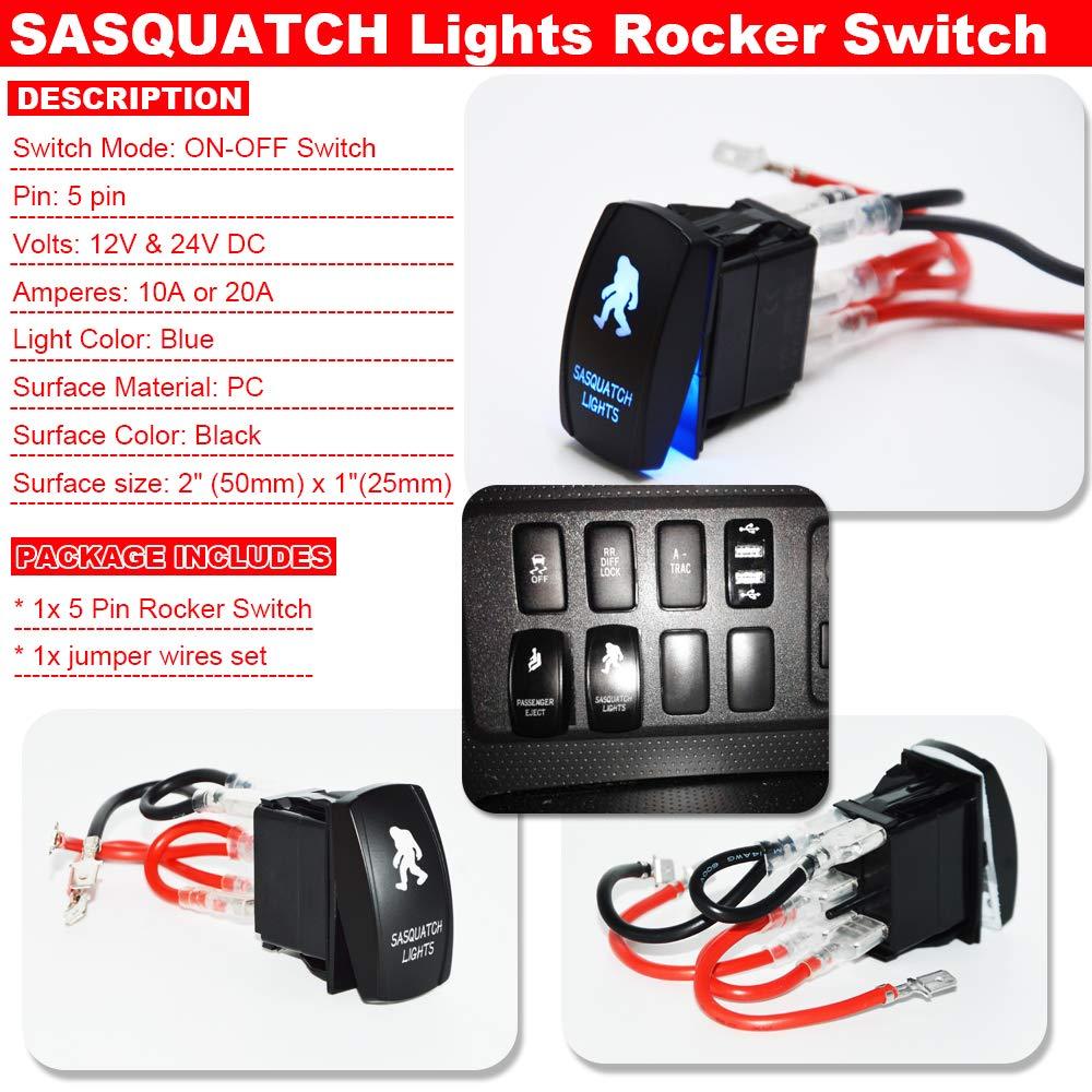 Blue Rocker Switch SASQUATCH Laser Lights 5Pin 20A 12V for ATV UTV Polaris Yamaha Can-AM SUV Truck Boat
