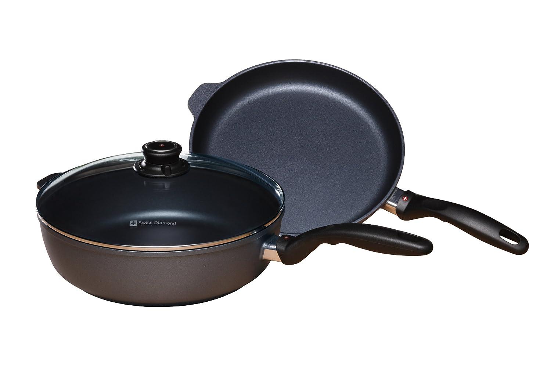 Swiss Diamond 3 Piece Set: Fry Pan and Saute Pan