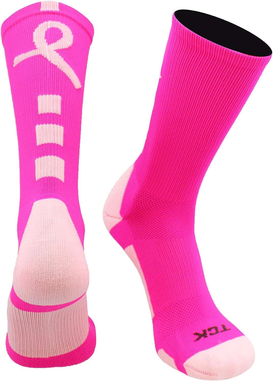 TCK Baseline Breast Cancer Awareness Athletic Crew Socks (Kids and Adult Sizes) : Clothing
