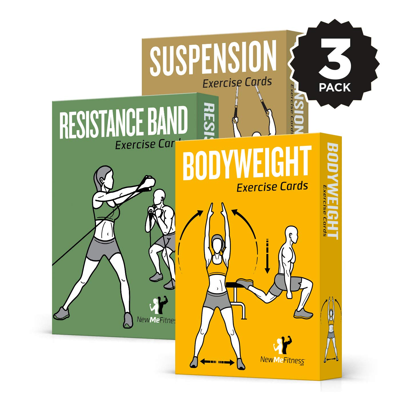 NewMe Fitness Exercise Cards 3 Pack of 62 :: Bodyweight, Suspension, Resistance Band :: 50 Exercises a Total Body Workout :: Extra Large, Waterproof & Durable Diagrams & Instructions