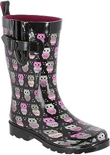 35b31965e2a Amazon.com   Capelli New York Owl Printed Ladies Short Rubber Rain ...