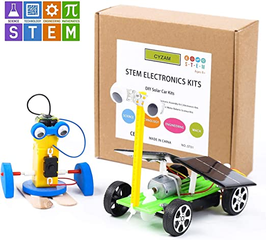 GeeMaker STEM Toys Science Experiment,DIY 3in1 Wooden Mechanical Model,3D Building Craft Electric Motor Assembly Kit,Solar Power Circuits Car,Birthday Gift for 5-6-8-10-12 Year Old Boy and Girl Kids