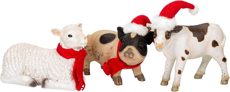 Baby Farm Animal Natural 8 x 5 Resin Stone Christmas Holiday Figurines Set of 3