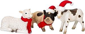 Transpac Imports, Inc. Baby Farm Animal Natural 8 x 5 Resin Stone Christmas Holiday Figurines Set of 3