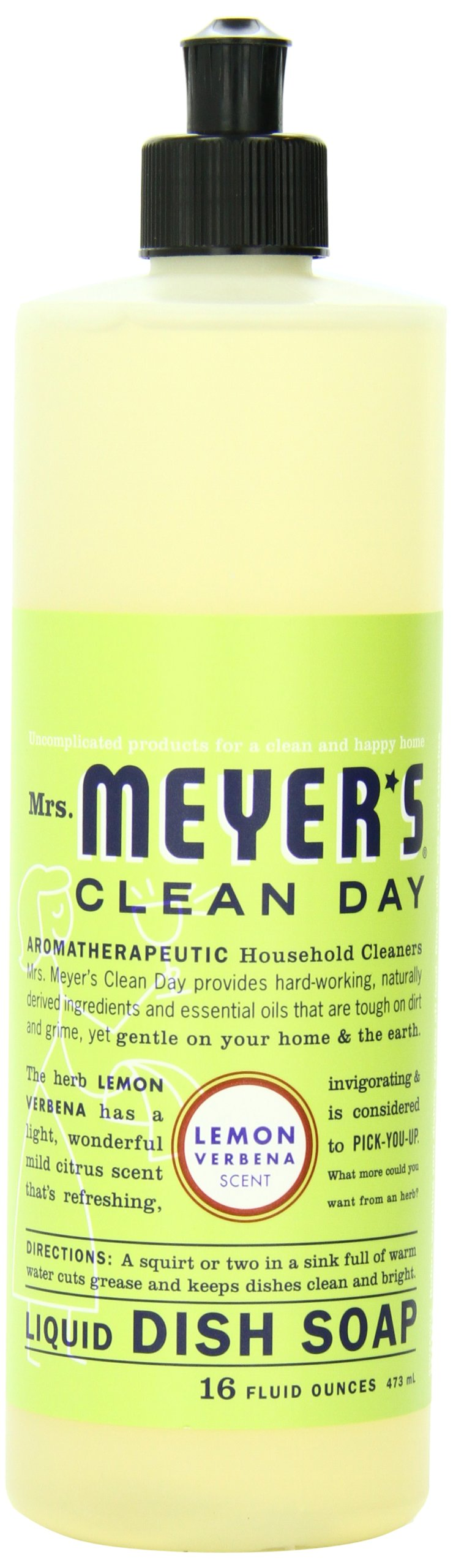 Mrs. Meyer's Clean Day Dish Soap, Lemon Verbena, 16-Ounce Bottles (Case of 6)