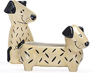 Bico Cartoon Dog - Organizador de mesa de cerámica hecho a mano de gres, juego de 2, 1 organizador de escritorio sin tapa, 1 placa de baratija: Amazon.es: Hogar