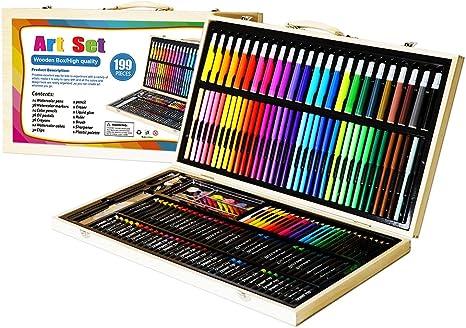 brelar 199 Piecs arte herramientas juego de pintura para niños los niños dibujo agua Color lápiz de ceras Pastel al óleo (para niños con estuche de madera: Amazon.es: Juguetes y juegos