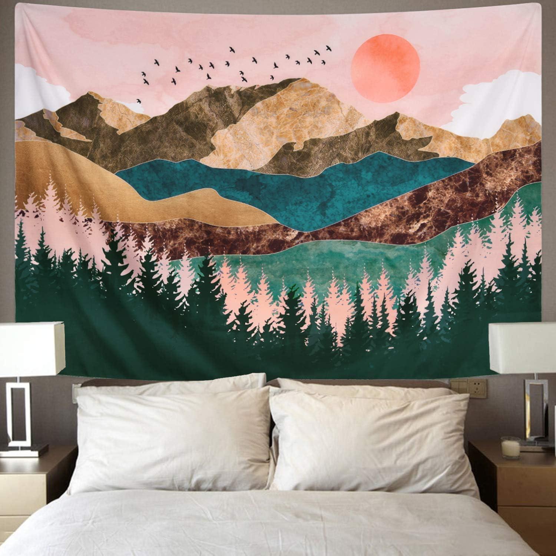 Wandbehang Wandteppich Mountain Tree 51.2 x 59.1 Kokmn Bohemian Indian Mandala Hippie Tapisserie Wandteppich mit Kunst Natur Home Decor f/ür Tischdecke Wohnzimmer Schlafzimmer Decor