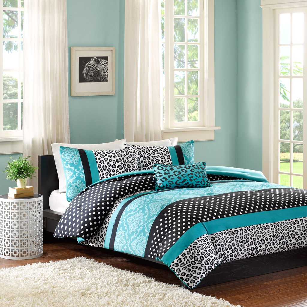 Blue bedroom sets for girls - Comforter Bed Set Teen Bedding Modern Teal Black Animal Print Girls Bedspread