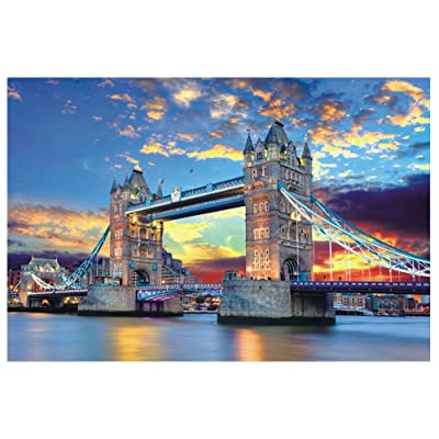 1000 Piece Famous Scenery Jigsaw Puzzle for Kids Adult, Tower Bridge Large Puzzle Game Toys Gift (A, 29.53 x 19.69inch): Toys & Games