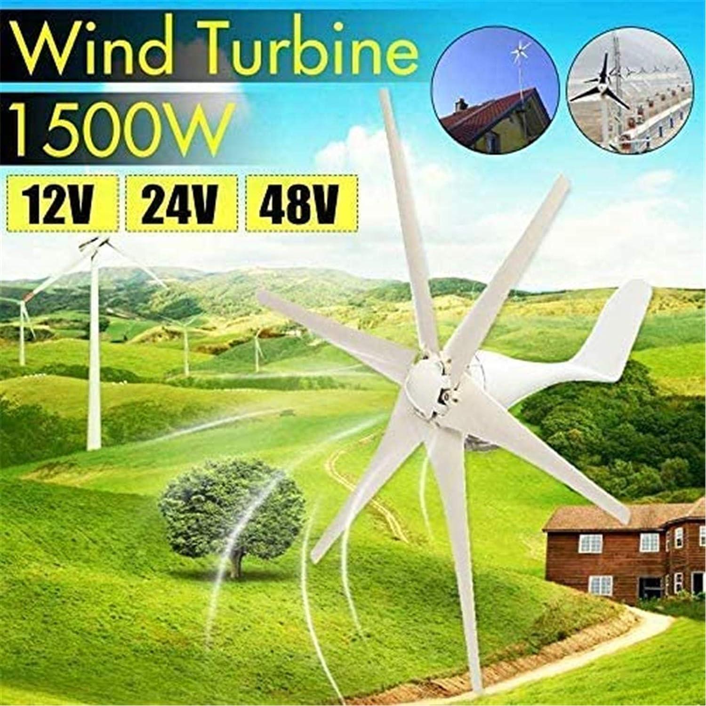 Turbina eólica 1500W miniatura aerogeneradores Residencial, DC 12V / 24V / 48 voltios 6 cuchillas miniatura aerogeneradores hogar residencial de viento generador de turbinas for el país o acampar
