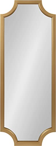 Kate and Laurel Hogan Wood Framed Full-Length Wall Mirror with Scallop Corners, 18×48 Inches, Gold