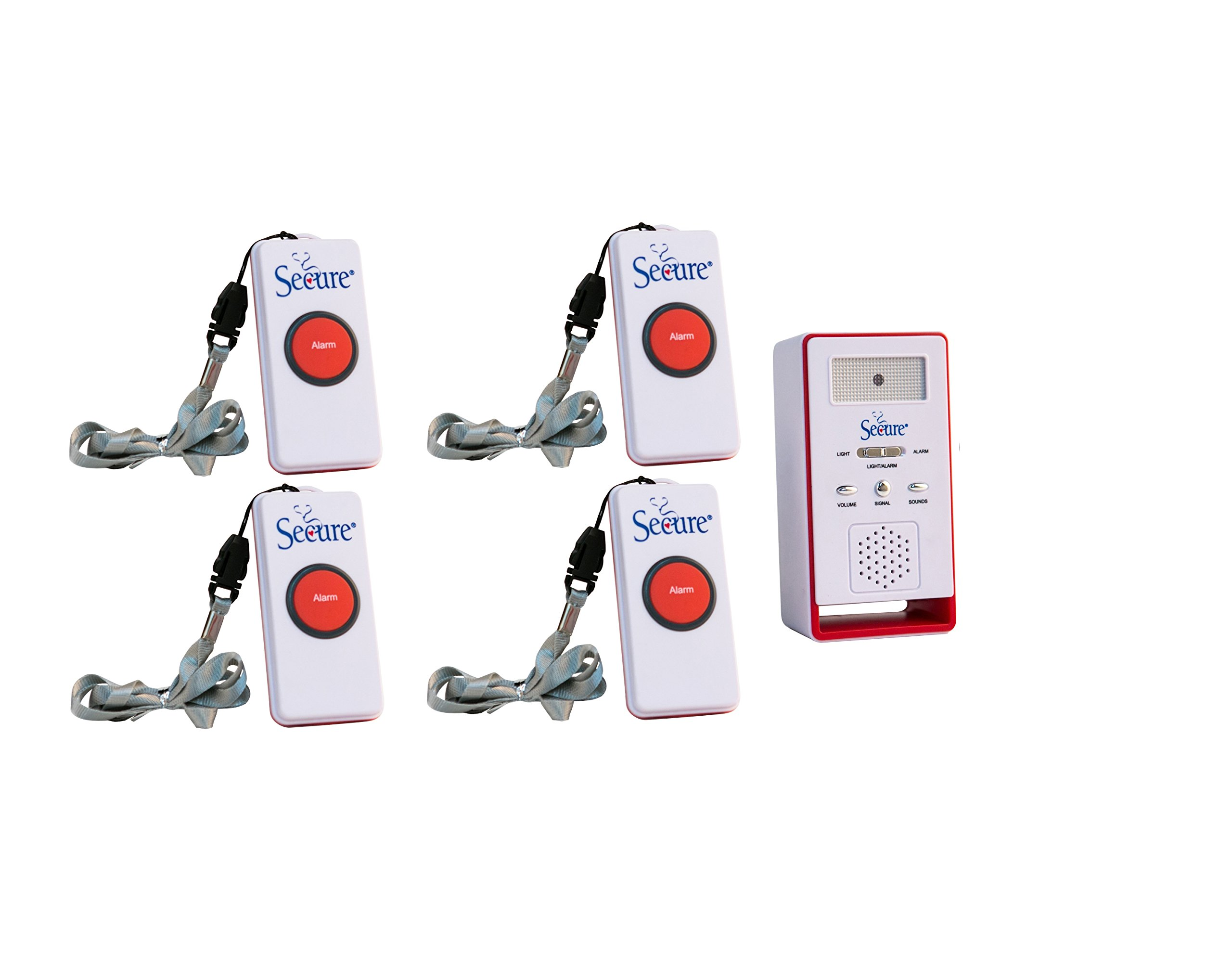Secure SWCB-1 Wireless Remote Nurse Alert System - 4 Patient Call Buttons and 1 Caregiver Pager - 500+ Ft Range ... (4 Transmitter Set) by Secure