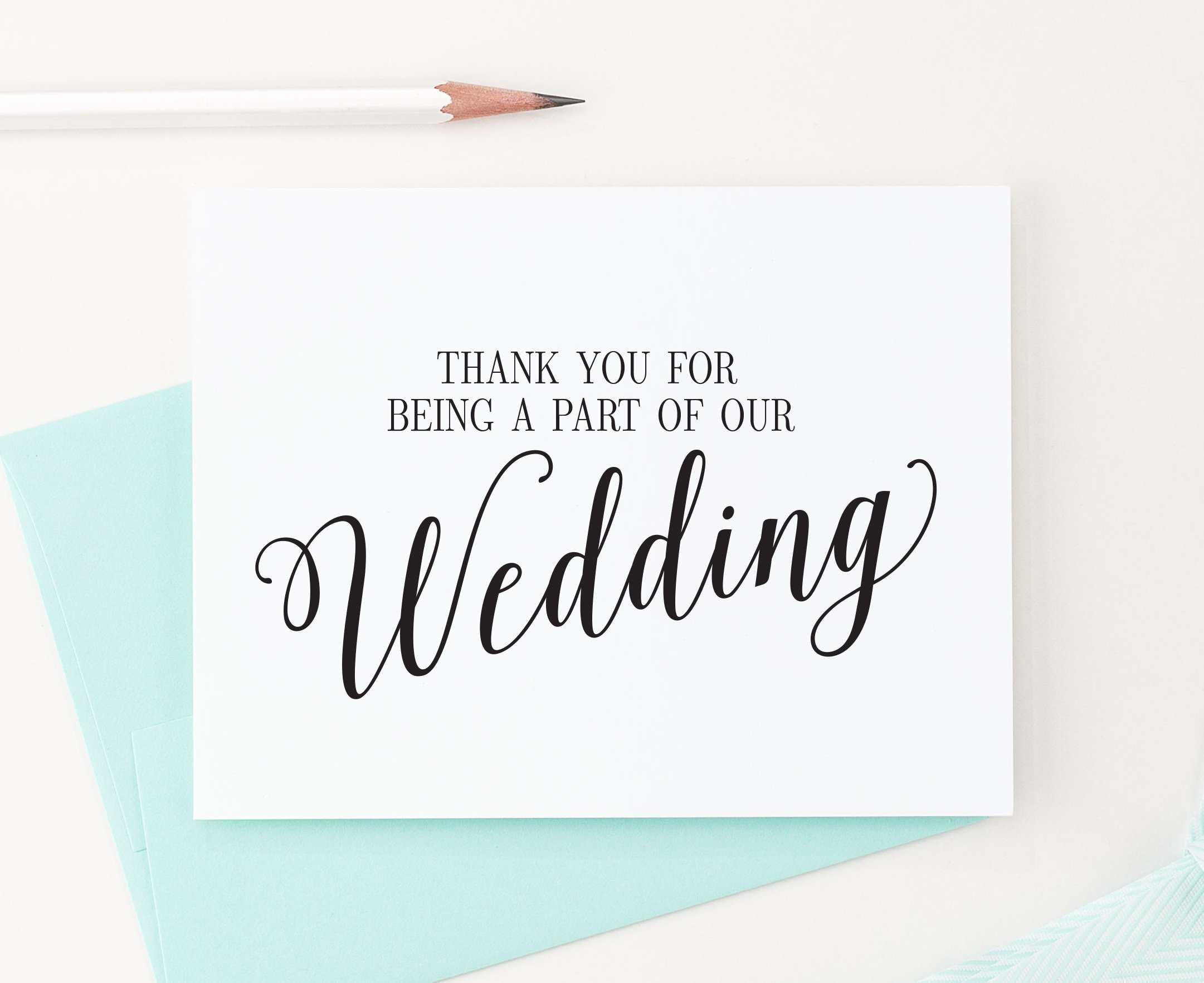 Wedding Thank You Cards Set, Thank You for Being a Part of Our Special Day, Vendor, Florist, etc (Set of 5), 5 Greeting Cards with envelopes - Your Choice