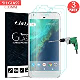 Google Pixel XL Screen Protector, J&D Glass Screen Protector [Tempered Glass] HD Clear Ballistic Glass Screen Protector for Google Pixel XL - Protect Screen From Drop and Scratch (3 Packs)