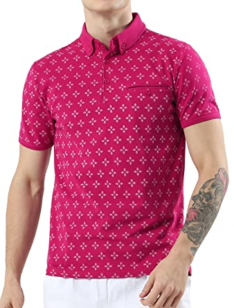 Sourcingmap - Polo - Polo - para hombre rosa fucsia Small: Amazon ...
