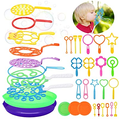 B bangcool Bubble Wands Set - Big Bubbles Wand Funny Bubbles Maker, Nice for Outdoor Playtime & Birthday Party & Games, Suitable for All Age People (35 PCS): Sports & Outdoors