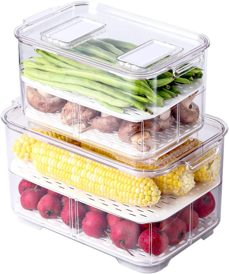 AJY Food Storage Containers,Fridge Produce Saver,Fresh Vegetable Fruit Storage Keeper,BPA-free Fridge Storage Container, (Set of 2)