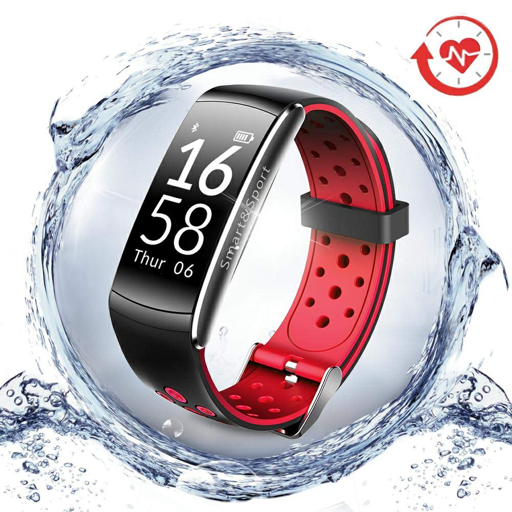 LNGOOR Fitness Tracker Watch Activity Tracker Watch - Fitness Watch, IP68 Waterproof Step Calorie Counter Pedometer Watch for Yoga,Running,Cycling - Red