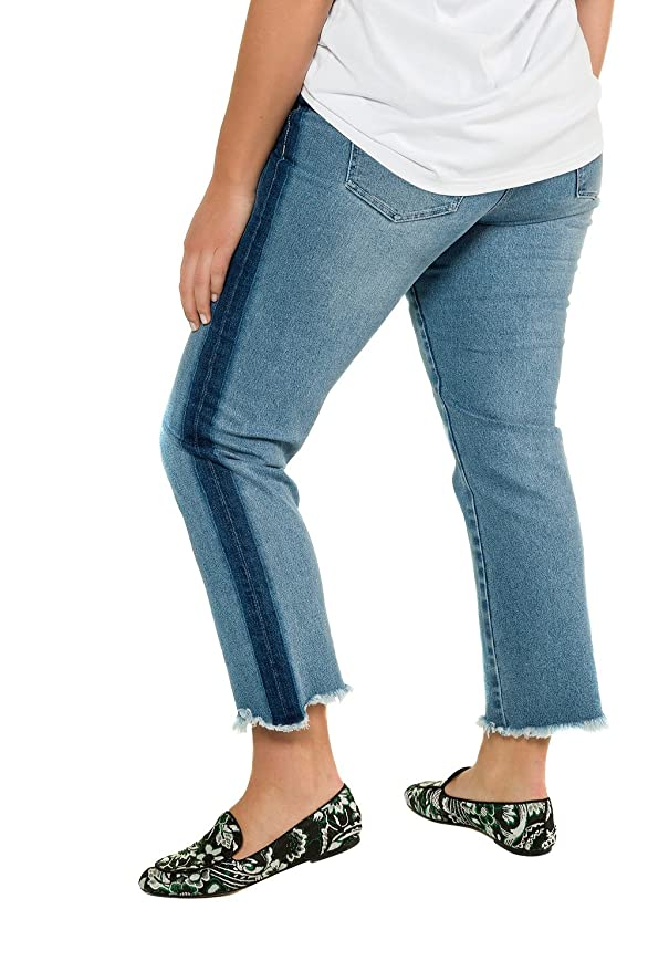 Studio Untold Womens Plus Size Side Stripe Distressed Stretch Jeans 716658