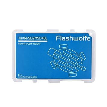 Caja de la tarjeta de memoria Flashwoife tortuga SD2MSD4BL de 2x y 4x MicroSD SD para tarjetas de memoria en formato de tarjeta de crédito - ...