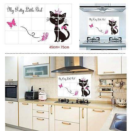 Amazoncom Bibitime Black Cat Decal 2 Pink Butterflies Art