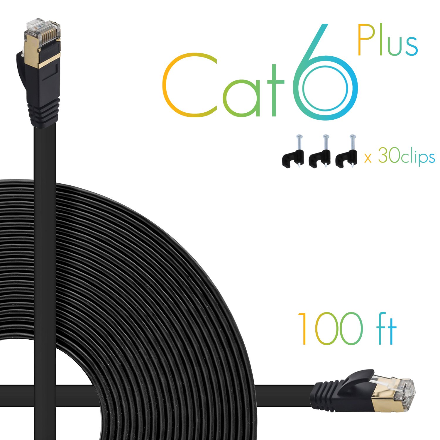 Computer Cable with Snagless Rj45 Connectors 30 feet White AOFORZ 10 Meters Ethernet Cable Cat6 Plus 30ft White Flat High Speed Internet Network Cable with Cable Clips