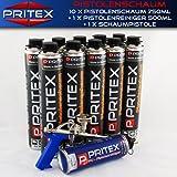12er Set Pistolenschaum 10 x 750ml + 1 Reiniger + 1 Pistole Montageschaum Bauschaum Schaum PU-Schaum PRITEX