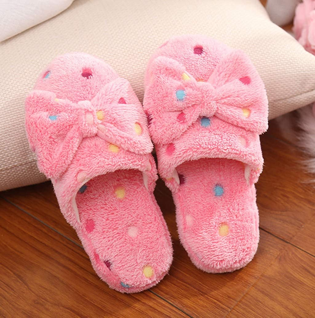 Womens Comfy Sweet Bow Plush House Home Slippers Slide On Indoor Bedroom Flats Shoes with Memory Foam by Nevera