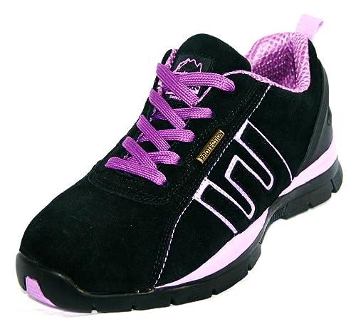 Groundwork - Zapatillas De Seguridad Para Mujer, Negro / Rosa, Talla EU 39