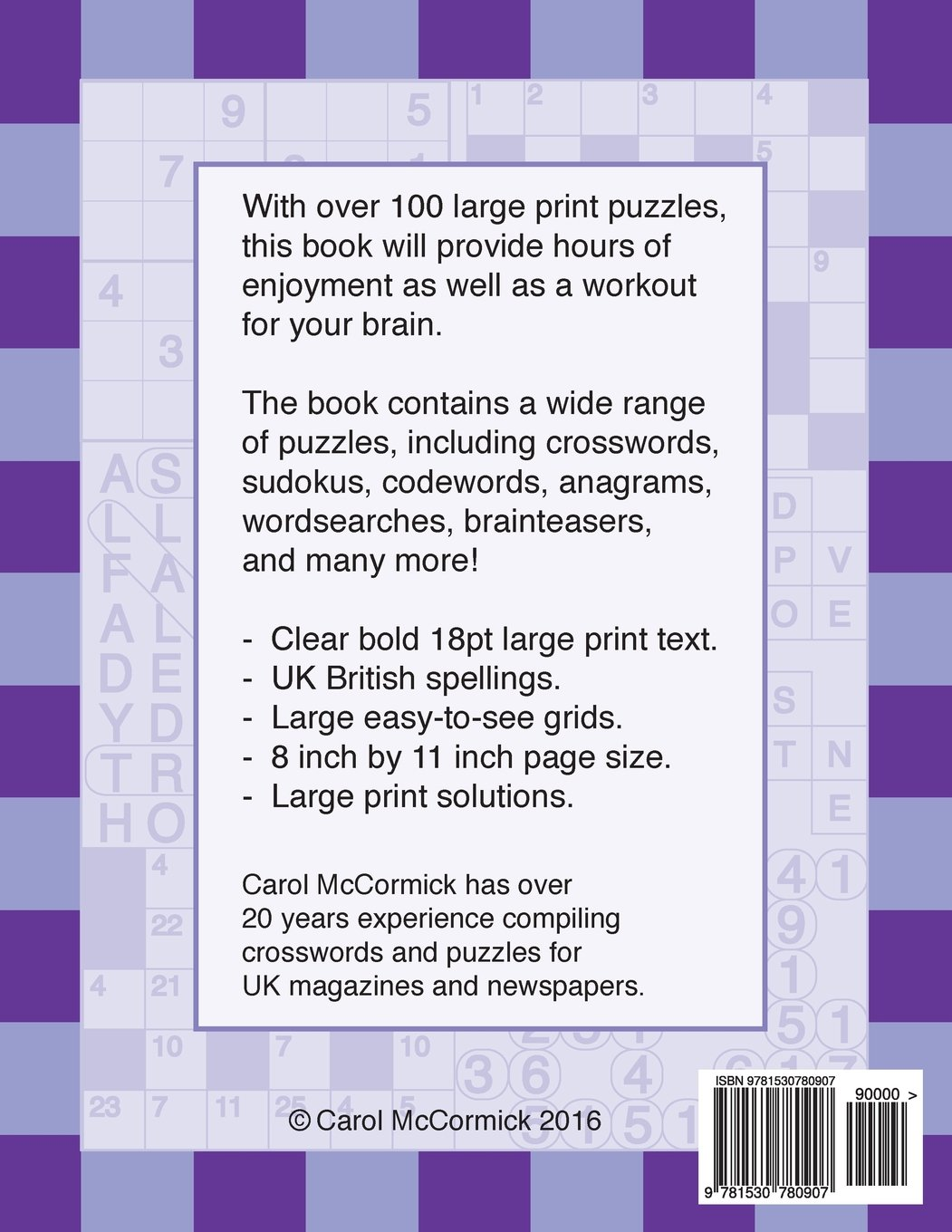 Large Print Puzzles and Crosswords: Volume 1: Amazon.co.uk: C McCormick:  9781530780907: Books