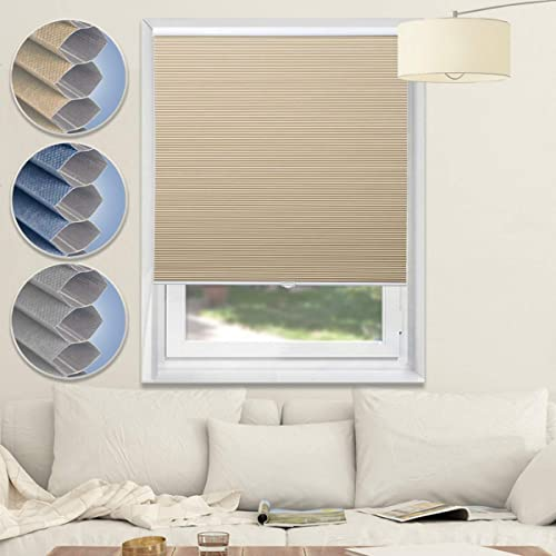 Blackout Cellular Shades Cordless Window Blinds and Shades Pull Up Honeycomb Shade