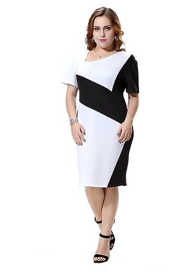 a48396e9082b8 Right Fashion Women's Asymmetrical Collar Casual Plus Size Dress 26 at  Amazon Women's Clothing store: