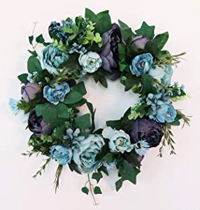 Prettybuy Artificial Peony Flower Wreath Door Wreath with Green Leaves Spring Wreath for Front Door, Wedding, Wall, Home Decor Blue