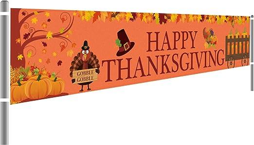 Happy Birthday Banner Pilgrim Turkey Thanksgiving Collection: Large Custom Banner Personalized Made to Order Pumpkin Pie Pumpkin.