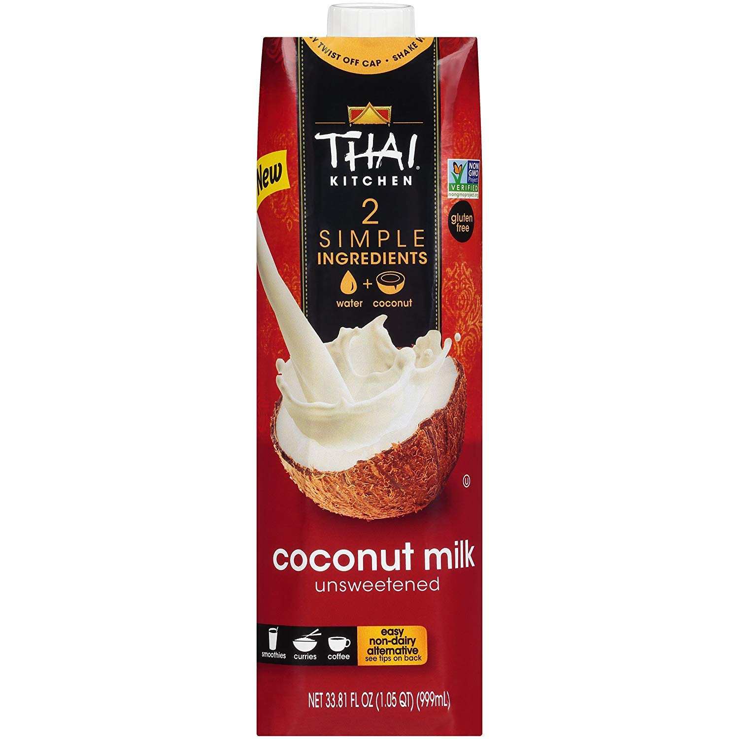 Thai Kitchen Dairy Free Coconut Milk (Resealable, Just Coconuts & Water, BPA Free Packaging, Unsweetened), 33.81 fl oz (Pack of 1)