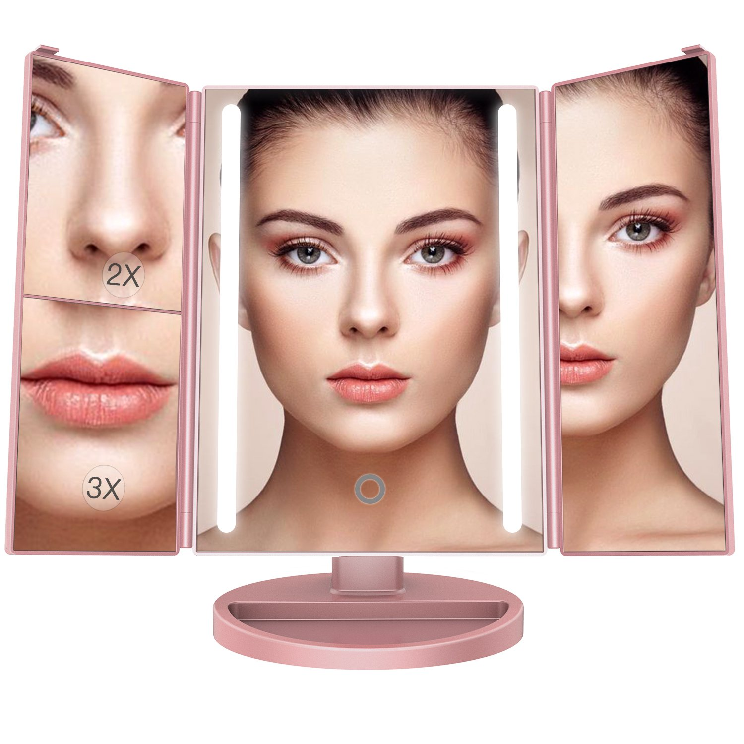BESTOPE 24 Led Makeup Mirror Larger Vanity Mirror with 3x/2x Magnification,Trifold Lighted Mirror,Touch Screen, 180° Adjustable Rotation,Battery and USB Powered,Countertop Cosmetic Mirror