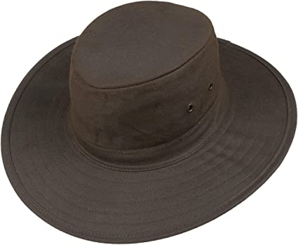 Thor Equine Wax Hat Oilskin Hiking Riding Wax Hat Rain Hat Weather Hat with Hat Band Brown