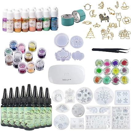 8X 30ML Resina 1 Lámpara Pinzas 24 Decoración 16 Molde de silicona 100 anillos 15 Pigmento