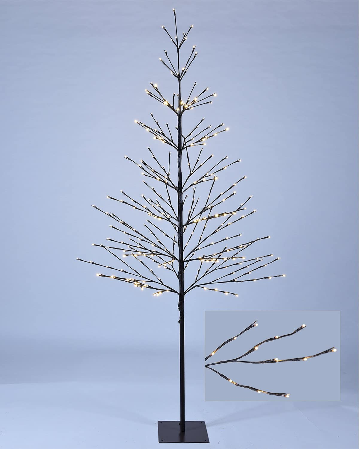 LIGHTSHARE 7 ft. LED Tree - Northern Lights Starlit Tree with 308 Warm White LED Lights, 7 Feet, Brown, Perfect Non-troditional Christmas Tree for Holiday Décor Wedding and Party