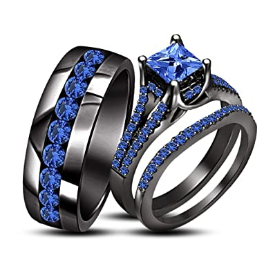TVS JEWELS His And Her RD Cut Blue Sapphire Black Rhodium Plated Bridal Wedding Rings