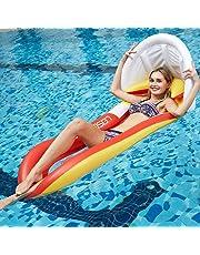 JanTeel Hamaca Inflable del Flotador, colchón de Aire Cama de Agua Tumbona de natación al