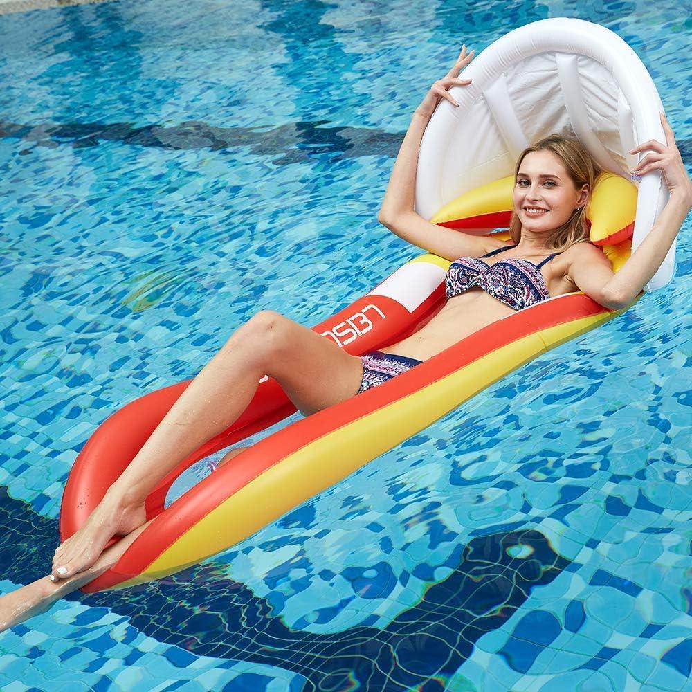 JanTeelGO Hamaca Inflable del Flotador, colchón de Aire Cama de Agua Tumbona de natación al Aire Libre de Verano con toldo Desmontable, para niños Adultos Fiesta en la Piscina (Rojo-Upgraded)