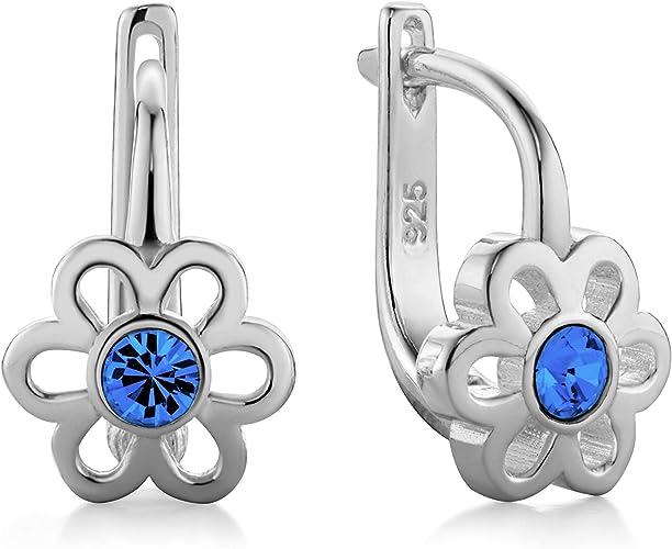 butterfly Filles Boucles D'oreilles Argent 925 Vrais Swarovski Elements  Fleur Sacs en Satin Cadeau Enfant Fille Bijoux